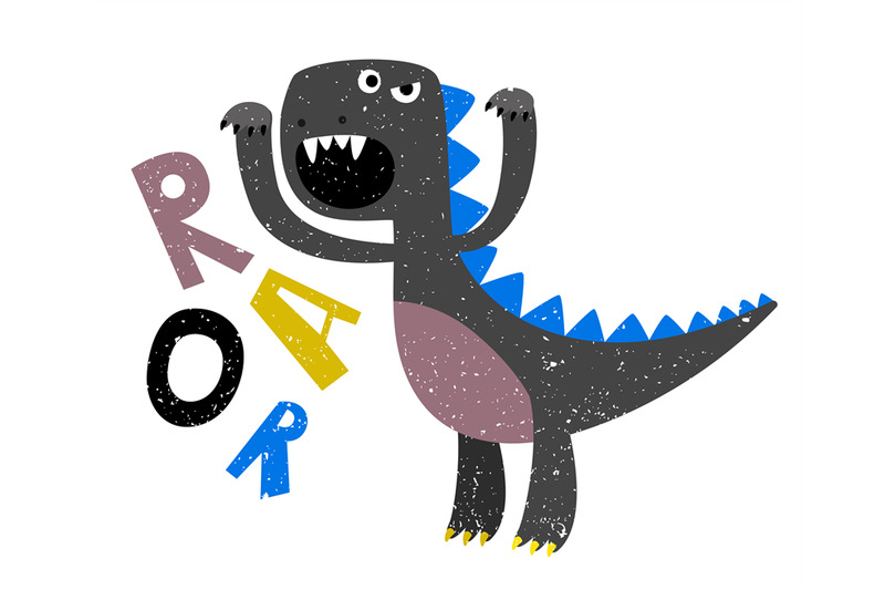 childrens-drawing-of-scary-growling-dinosaur-flat