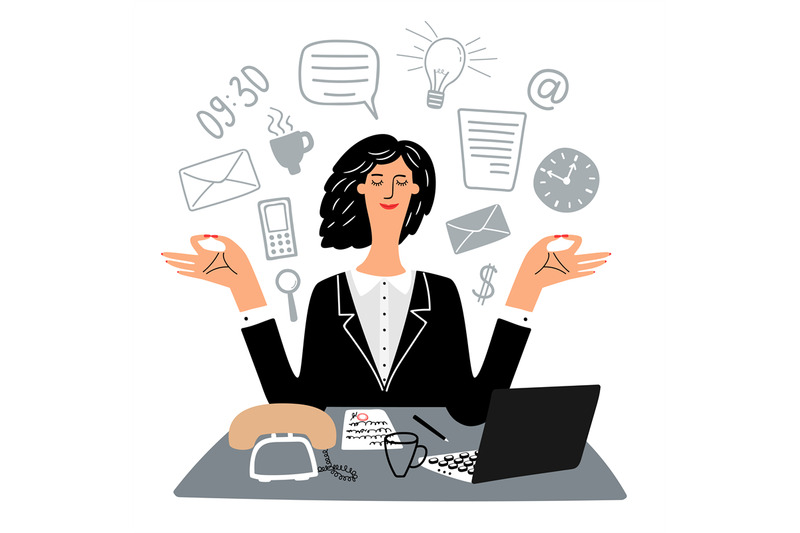 secretary-woman-quietly-meditates-in-workplace-vector