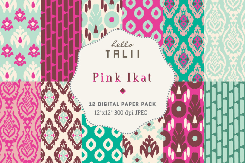 pink-ikat-digital-paper