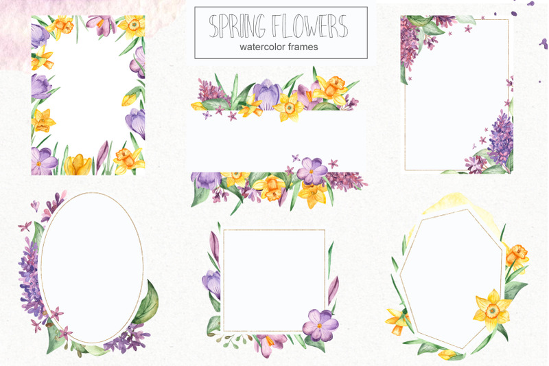 Watercolor spring flowers. Clipart, frames, wreaths ...