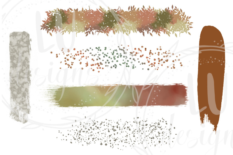 fall-brush-strokes-clipart-watercolor-paint-strokes-glitter-overlay