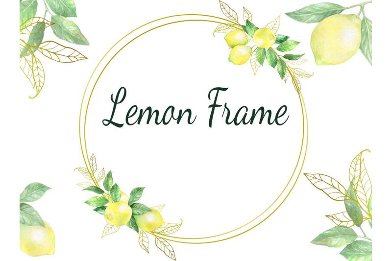watercolor-digital-lemon-wreath-frame