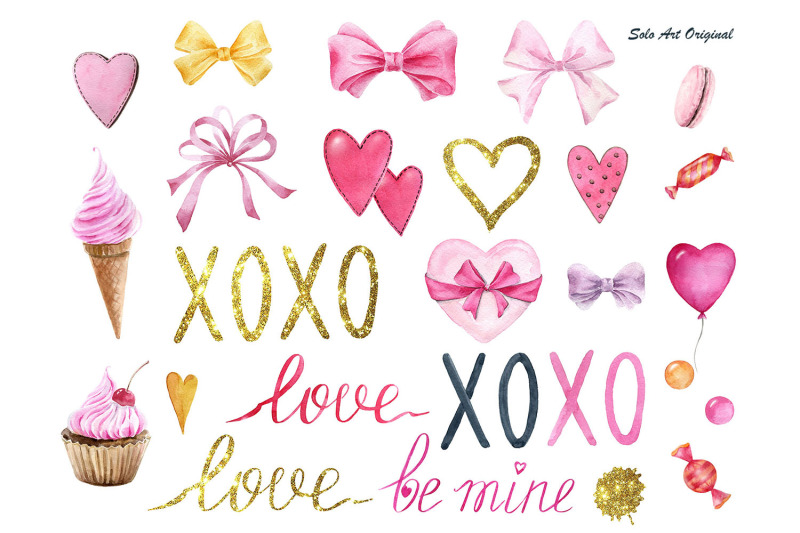 valentines-day-pink-and-gold-watercolor-clipart