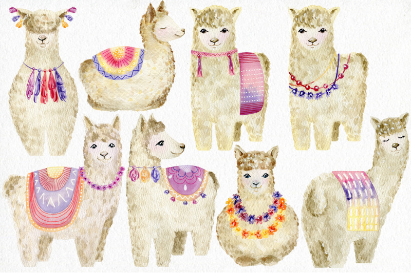 watercolor-llamas-kit