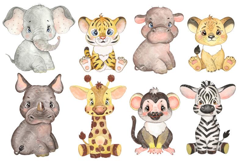 safari-baby-animals-digital-watercolor-clipart-nursery-prints
