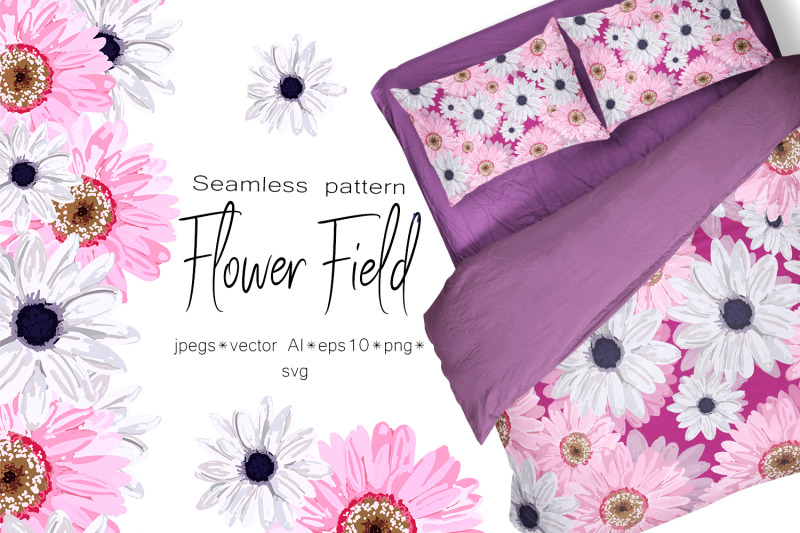 spring-set-flower-field-seamless-pattern-and-seamless-borders-with-f