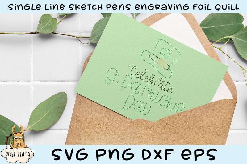 celebrate-st-patrick-039-s-day-single-line-sketch-foil-quill