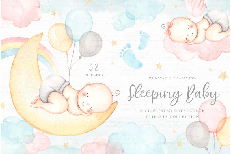 sleeping-baby-watercolor-clip-arts