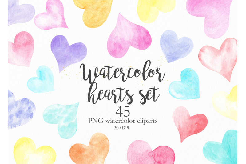 watercolor-rainbow-hearts-collection