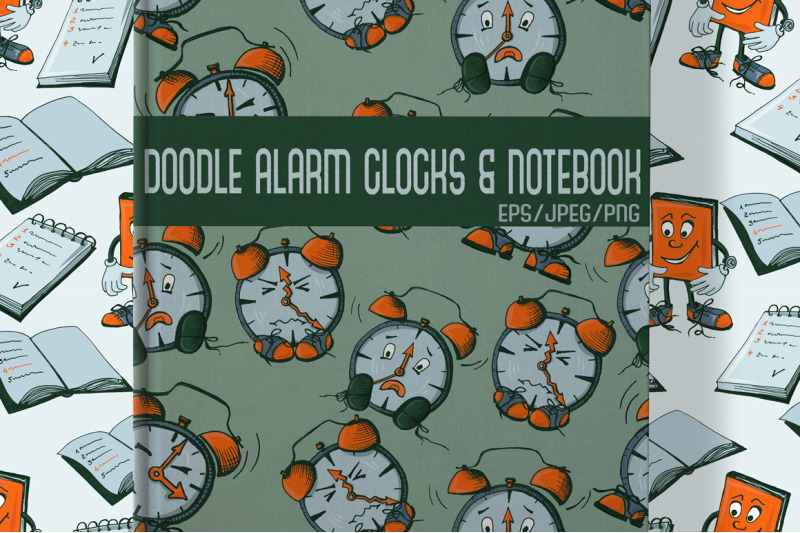 doodle-alarm-clock-and-notebooks