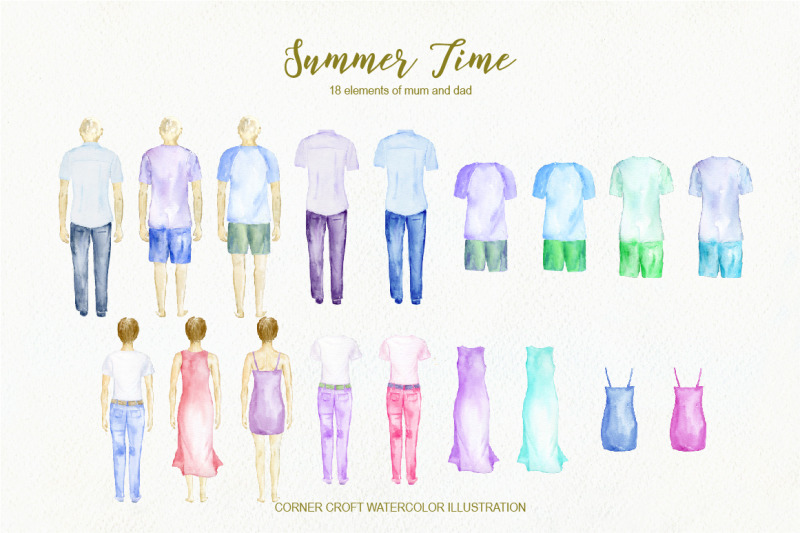 back-of-family-summer-time-watercolour-figures
