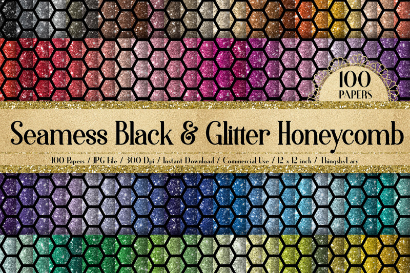 100-seamless-glitter-and-black-honeycomb-bee-digital-papers