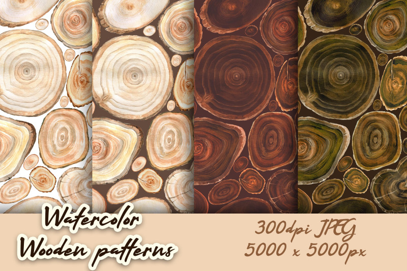 watercolor-patterns-with-wooden-slices
