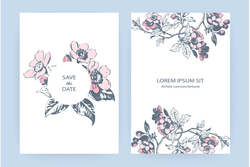 hand-drawn-sakura-pink-blossom-flowers-and-leaves-on-branches