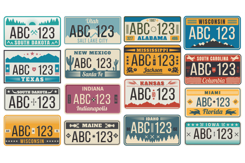car-number-license-plate-retro-usa-cars-registration-number-signs-te