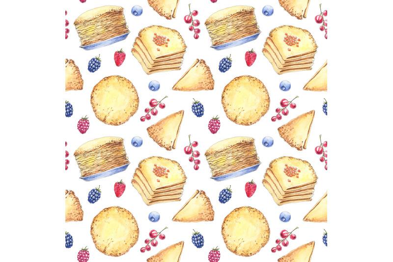 maslenitsa-shrove-pancake-week-food-watercolor-seamless-pattern