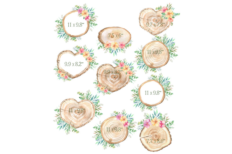 watercolor-wood-slice-clipart-rustic-floral-spring-sign-slices-clip-ar