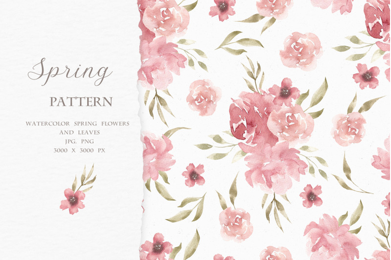 spring-pattern-watercolor-flowers-and-leaves