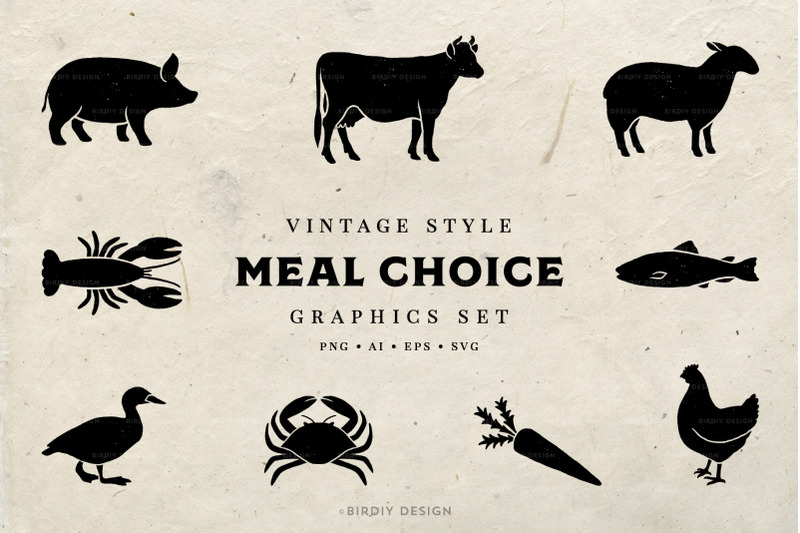 meal-choice-icons-vintage-texture