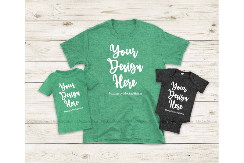 st-patrick-039-s-nbsp-mommy-and-me-heather-irish-green-gildan-tshirt-mockup