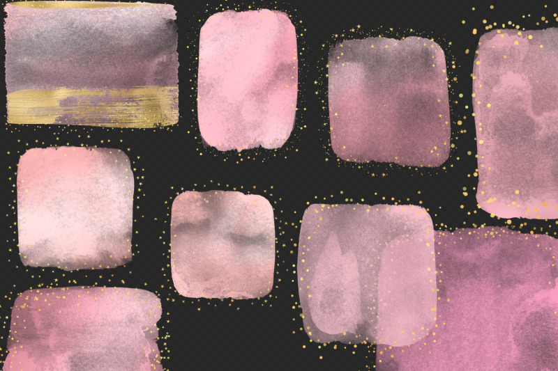 pink-amp-gold-watercolor-elements-clipart