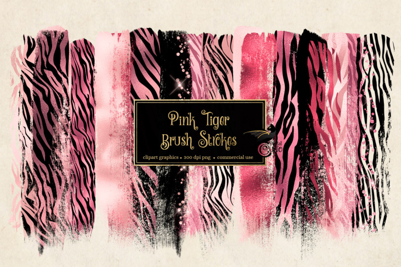 pink-tiger-brush-strokes-clipart