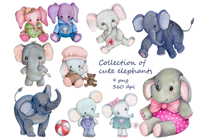 collection-of-cute-elephants-watercolor-illustrations