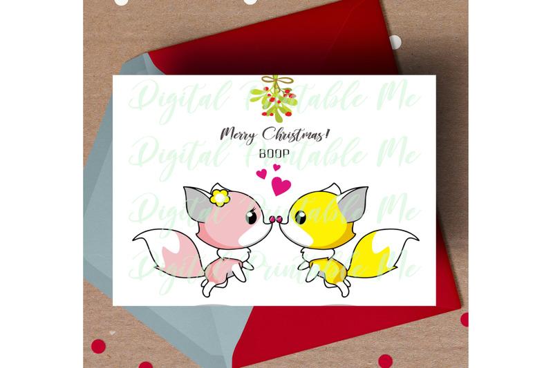 fox-christmas-card-printable-christmas-card-love-fox-card-mistletoe