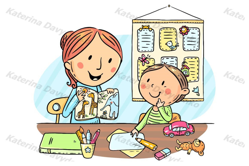 child-and-teacher-or-mother-reading-a-book-together