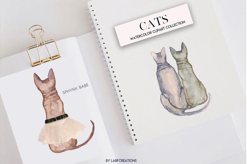 cats-watercolor-backs-of-cat