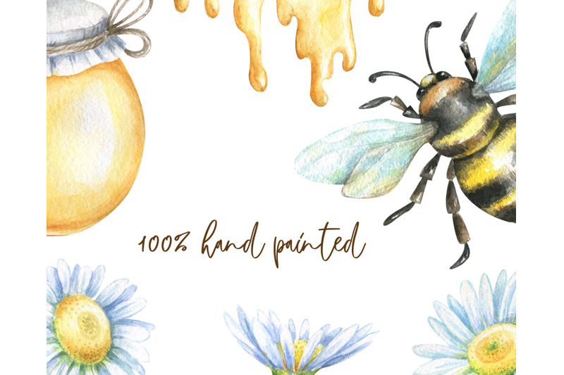 watercolor-bees-and-honey-clipart-png-digital-clip-art-hand-painted-be