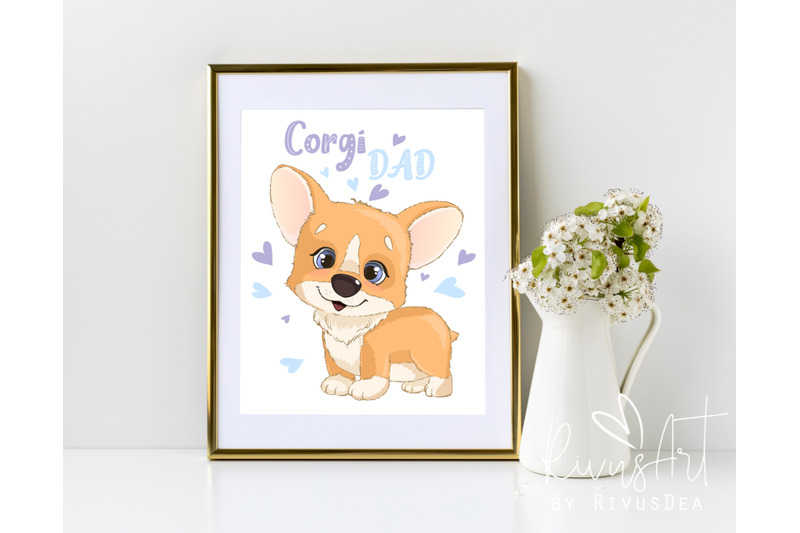 corgi-dad-digital-print-4-sizes-printable-postcard-download-cute-co