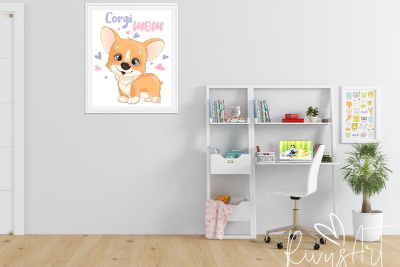 corgi-mom-digital-print-4-sizes-printable-postcard-download-cute-co