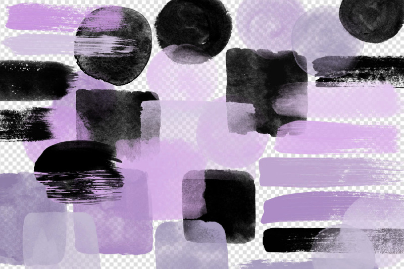 purple-and-black-watercolor-elements