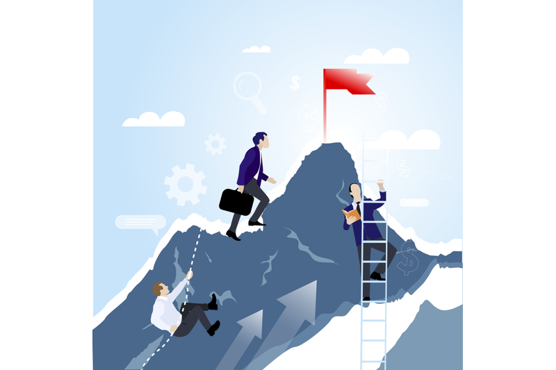 teamwork-concep-businessmen-together-rise-on-mountain-with-flag