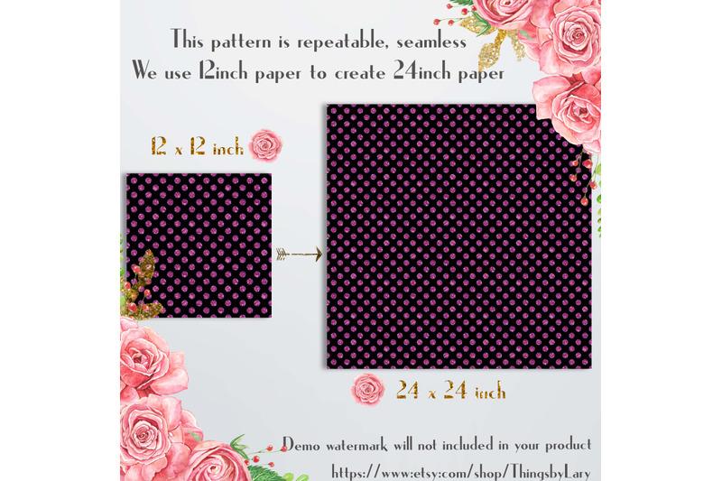 100-seamless-black-amp-glitter-polka-dot-digital-papers