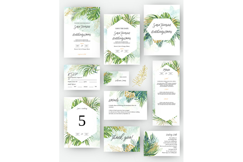 green-tropic-wedding-invitation-set