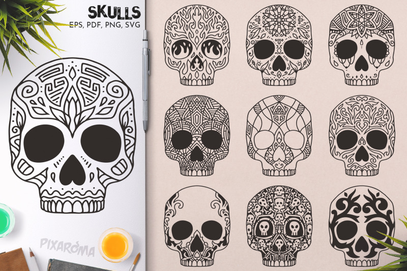 100-decorative-vector-skulls