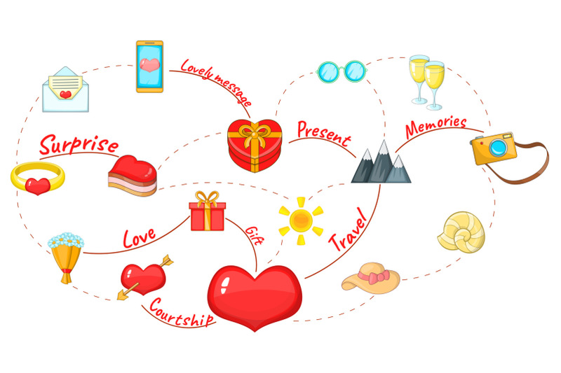 love-map-concept-background-cartoon-style