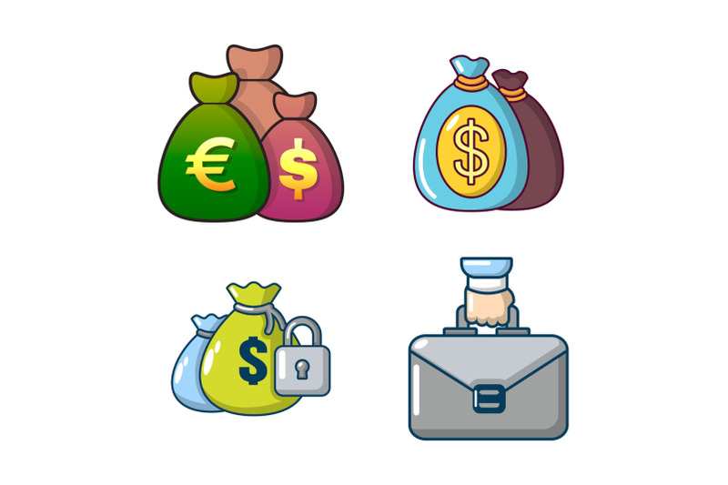 money-bag-icon-set-cartoon-style