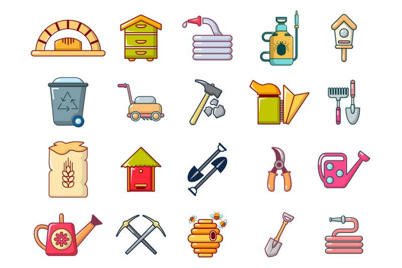 farm-tools-icon-set-cartoon-style