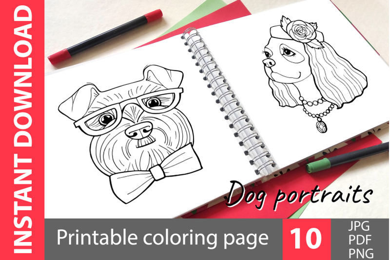 dog-portraits-coloring-book
