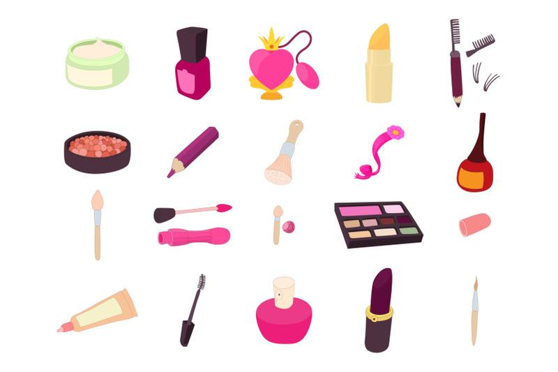 beauty-element-icon-set-cartoon-style