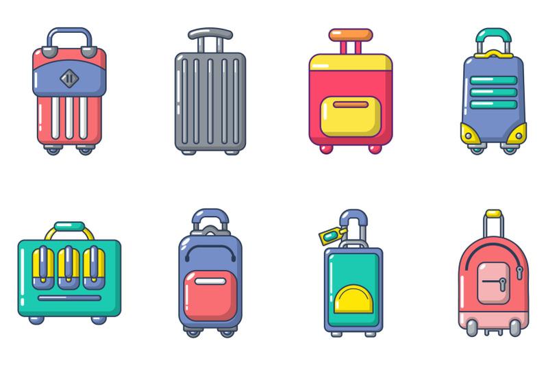 travel-bag-icon-set-cartoon-style