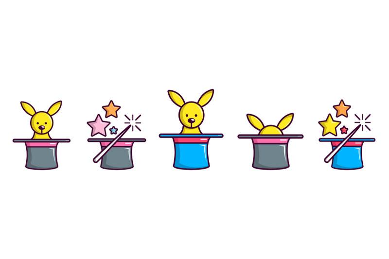 magic-top-hat-icon-set-cartoon-style