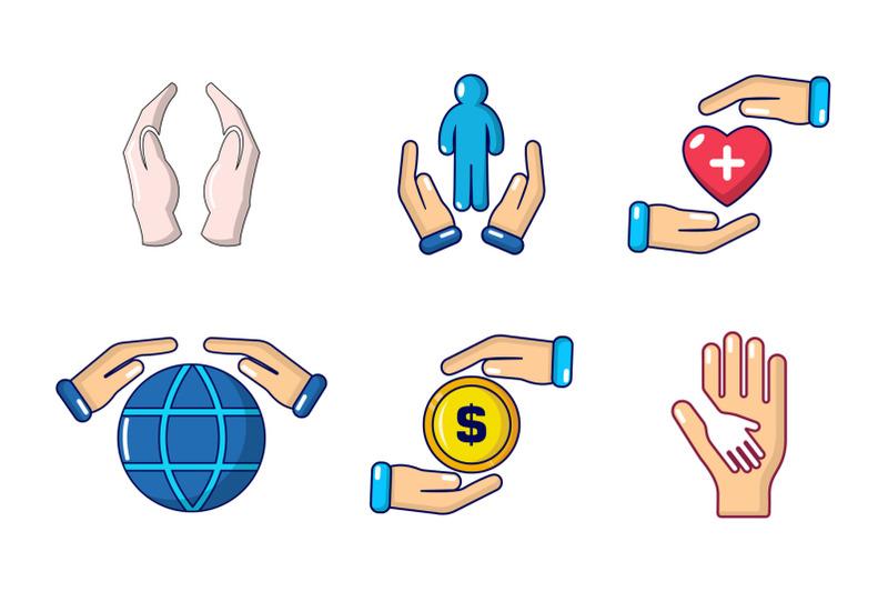 hand-protect-icon-set-cartoon-style