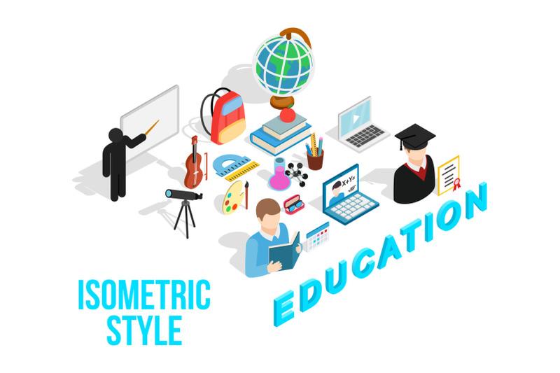 education-concept-icons-set-isometric-style