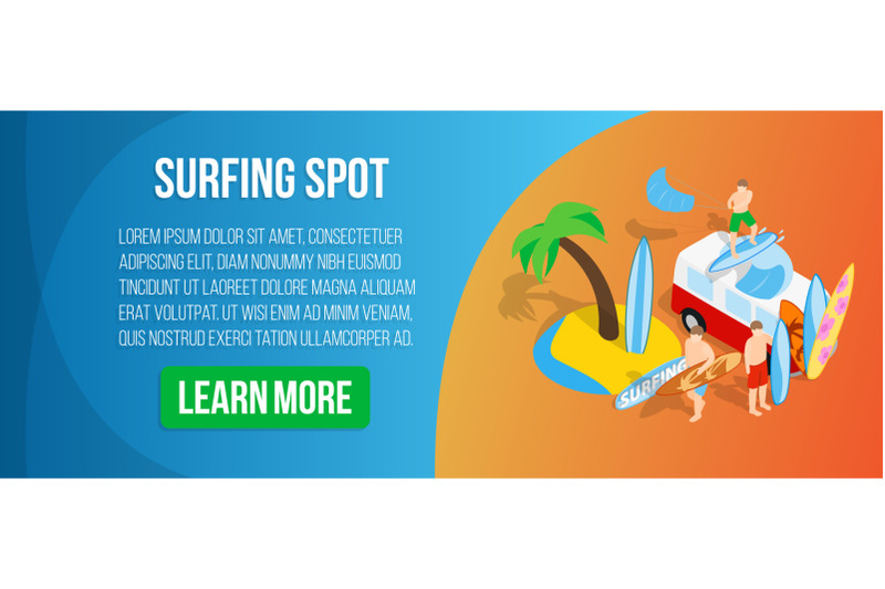 surfing-spot-concept-banner-isometric-style