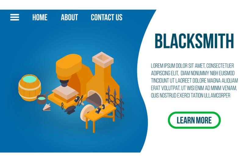 blacksmithing-concept-banner-isometric-style
