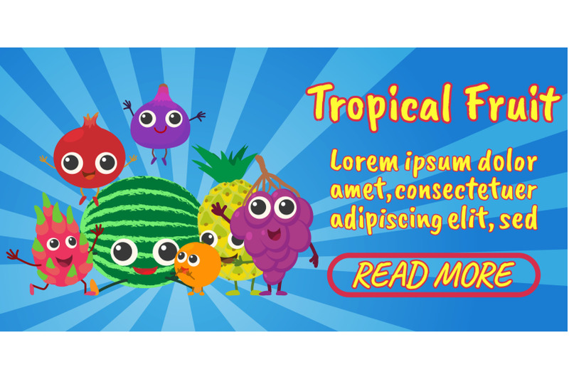 tropical-fruit-concept-banner-comics-isometric-style